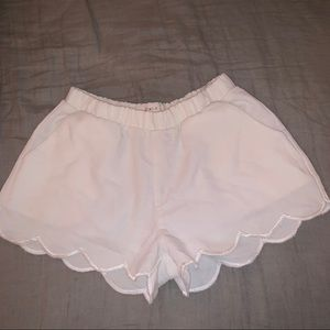 🔴White Chiffon Scalloped Shorts🔴
